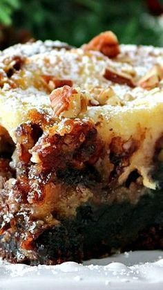 Brownie Pecan Pie Ooey Gooey Butter Cake ~ A fudge brownie layer, topped with a pecan pie filling an...