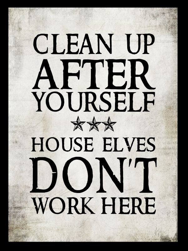 Clean Up After Yourselves House Elves Dont Live Here Funny