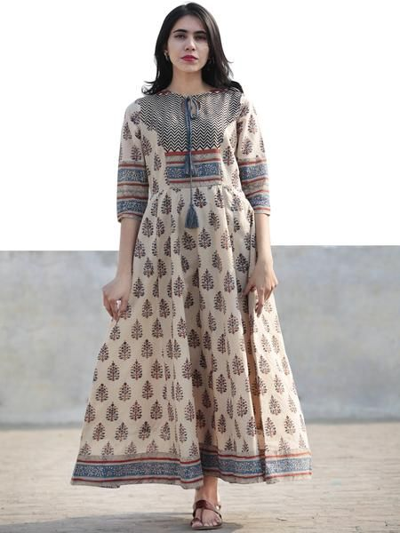 e61ec83cfd8 Beige Blue Maroon Black Hand Block Printed Long Cotton Dress with Tassels-  DS02F004