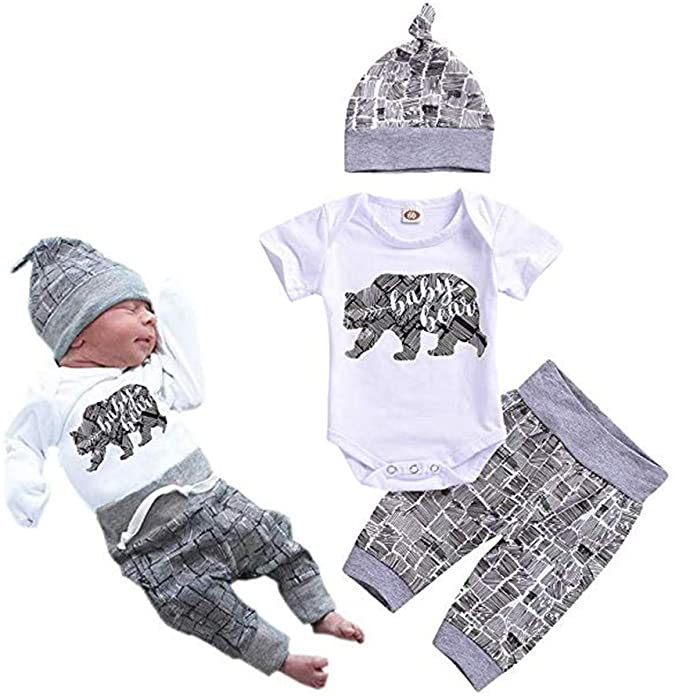 Hat Outfits Set Newborn Baby Boy Clothes Infant New to The Crew Romper Long Pants