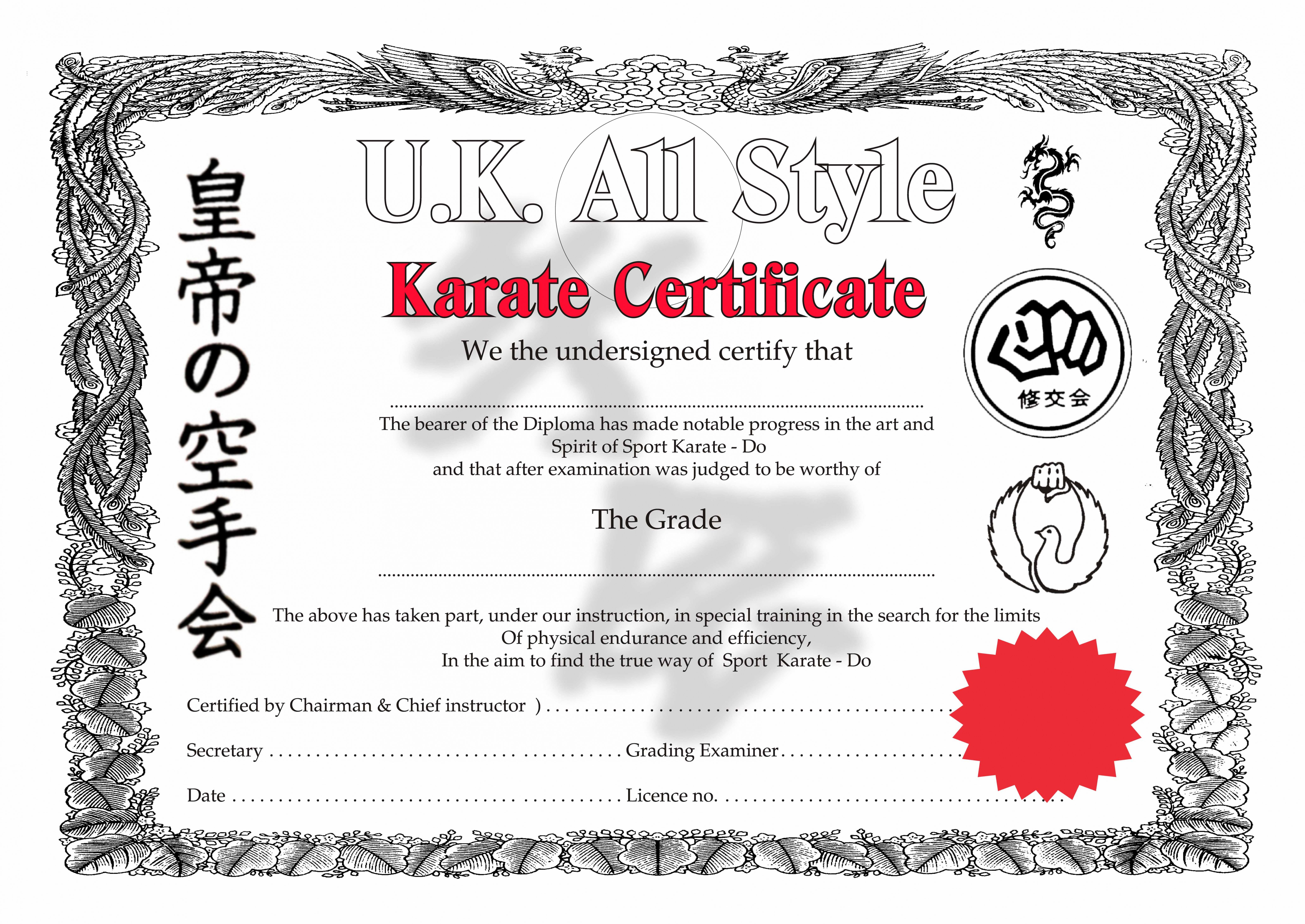 Get Our Sample Of Martial Arts Certificate Template Art Certificate Certificate Templates Martial Arts Karate certificate templates free download