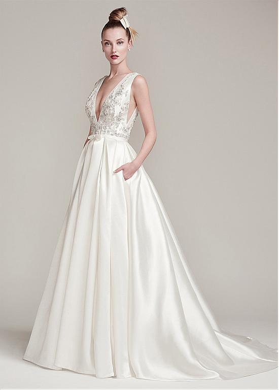 b30c19401c9a1 Fabulous Satin V-Neck A-Line Wedding Dresses With Beaded Lace Appliques
