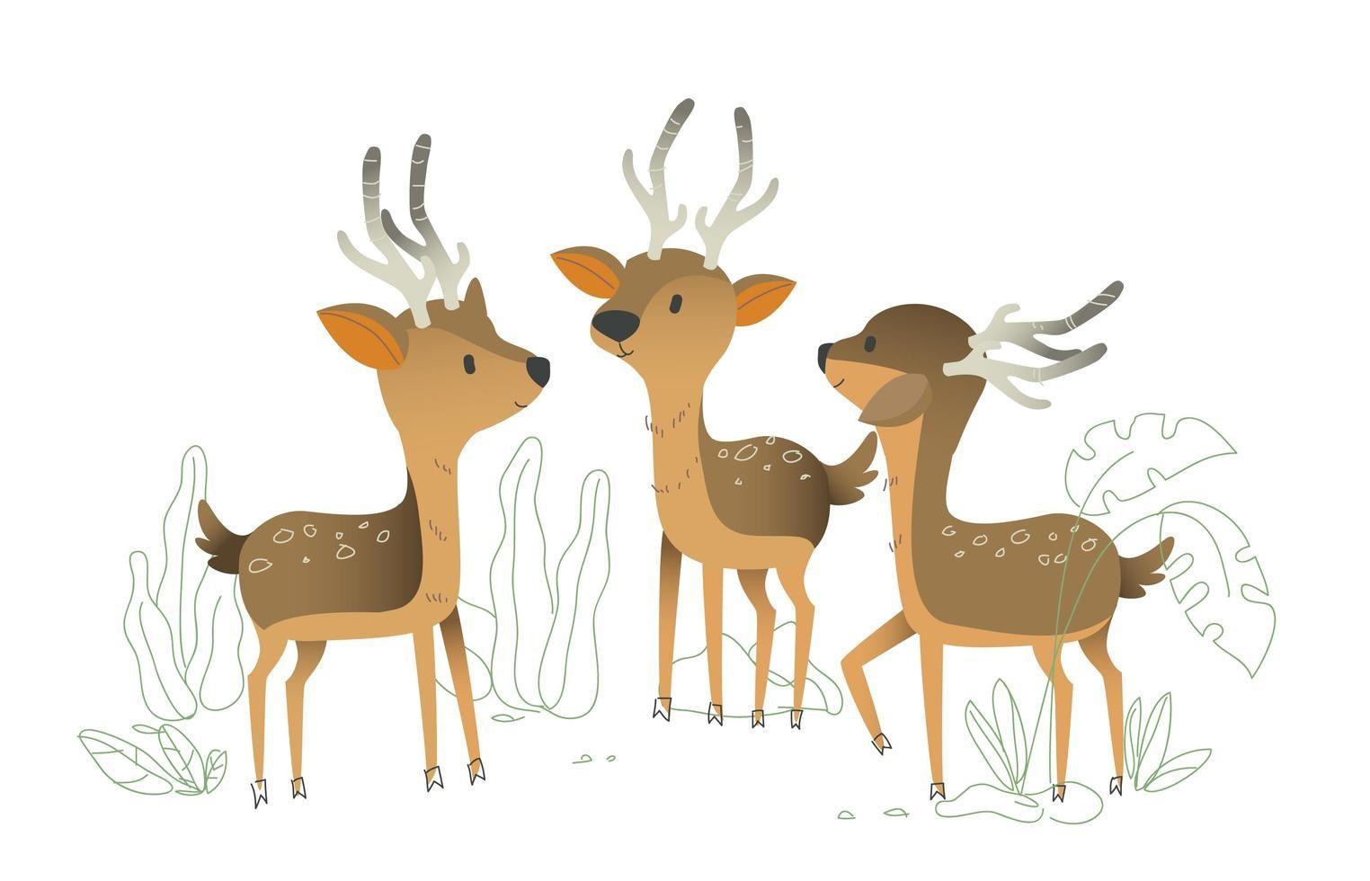 Cute deer character vector illustration dengan gambar
