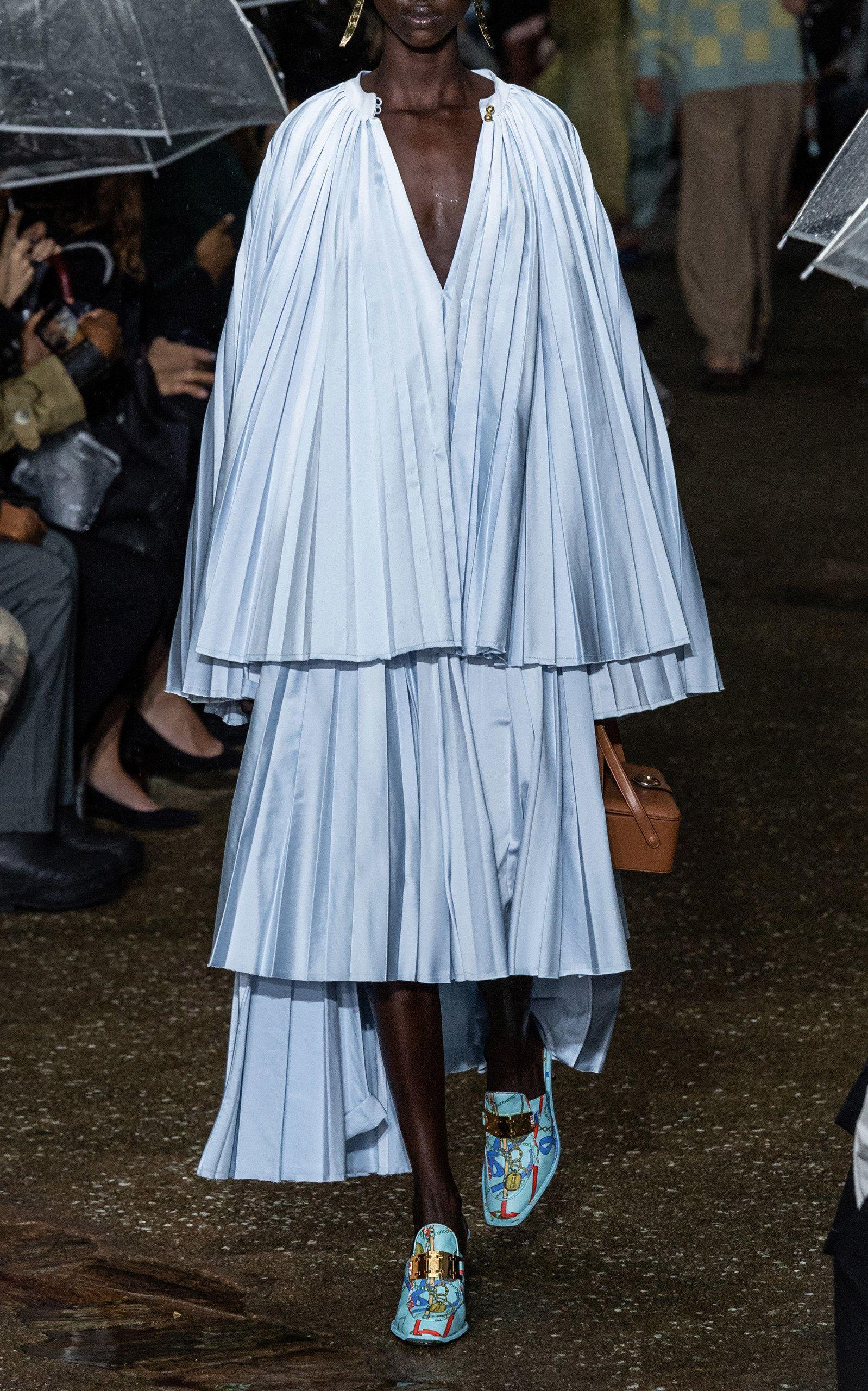 Lanvin High-Low Plissé Duchess Satin Midi Skirt #duchesssatin