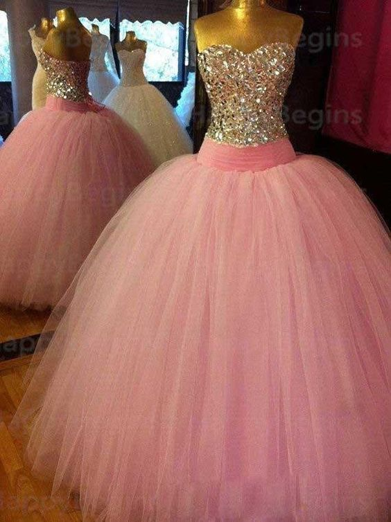 Long Ball Gown Prom Dresses,Pink Ball Gown | Xv años | Pinterest ...
