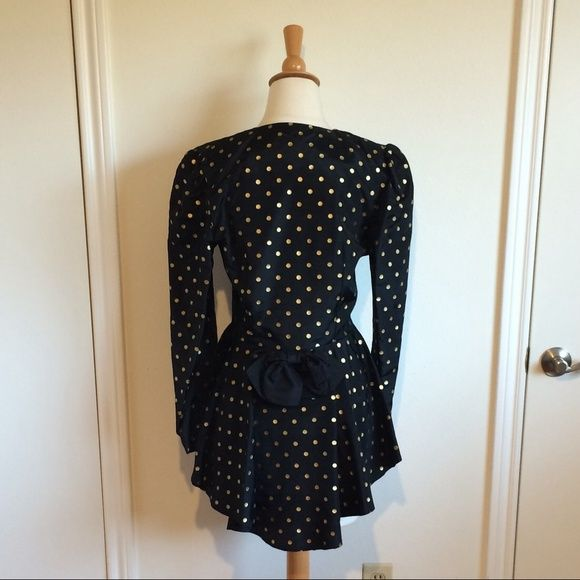 Vintage Black Gold Polka Dot Peplum Bustle Blazer Gorgeous gorgeous GORGEOUS!!! Really cool conviction fashioned from umbrella-like fabric and then there's that AH-MAZING peplum bustle. Let's not forget the bow, le sigh. Worn just once by the crazy stylish Sheree Morrison of itsnotthatdeep.com. I've never worn it myself, doesn't fit :( Jackets & Coats