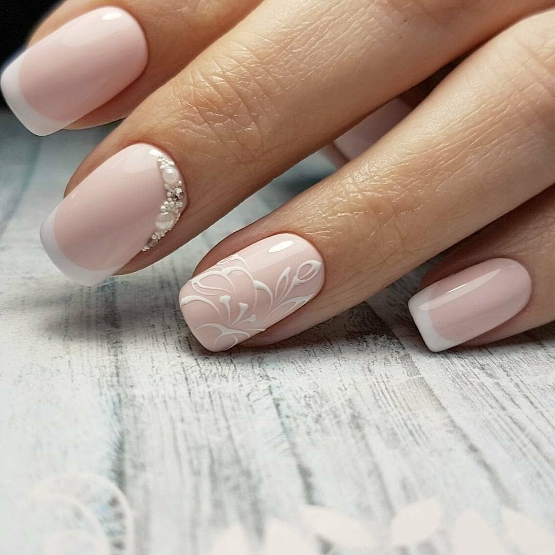 French Nail Art Manicure With Images Ladne Paznokcie