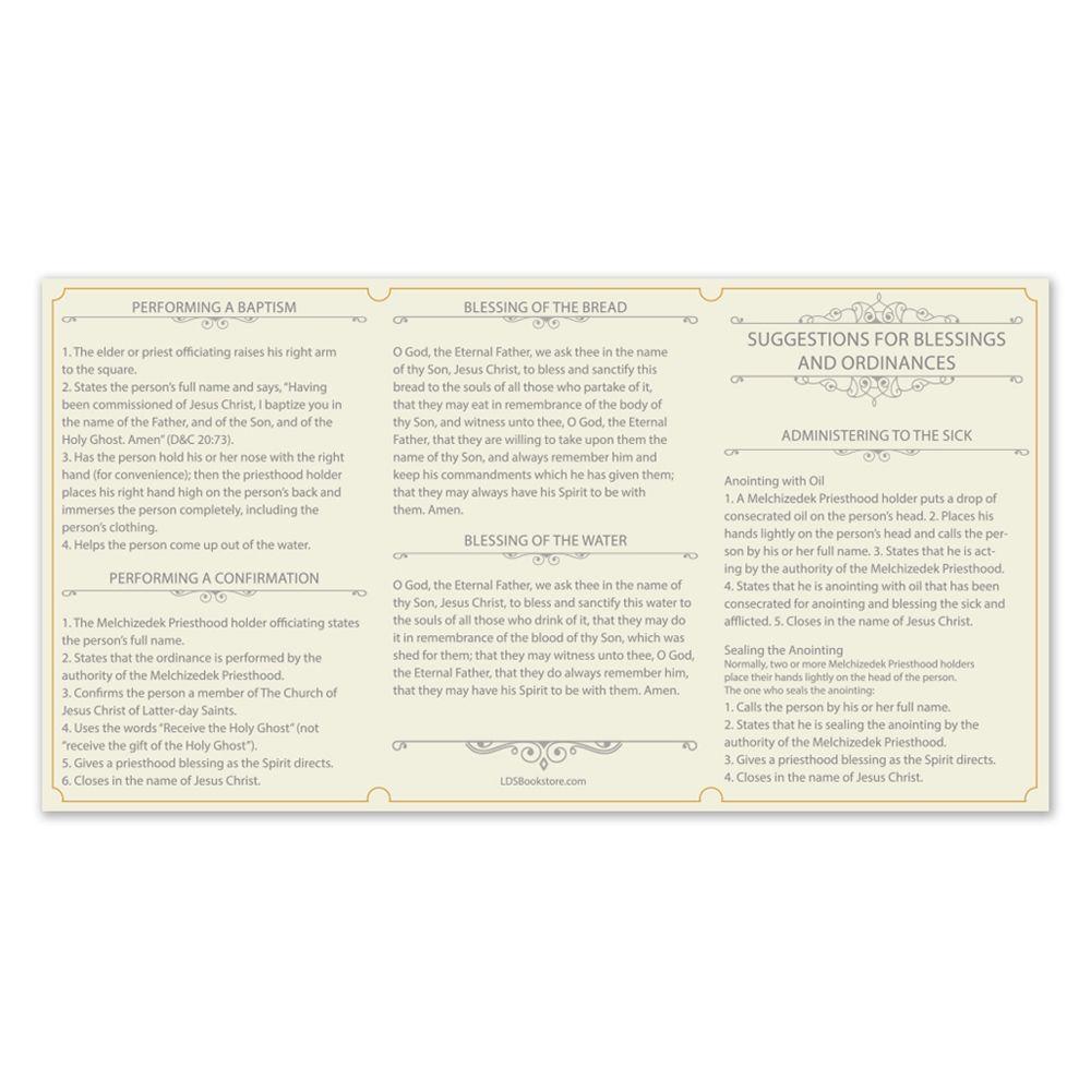 Pocket Priesthood Ordinance Card Priesthood Prayer Cards Ordination