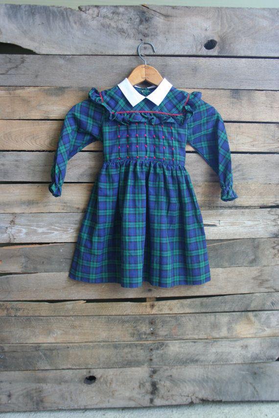 Vintage Children's Green & Blue Plaid Smocked Dress by vintapod