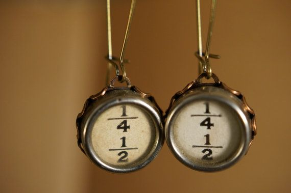 Vintage typewriter key earrings 1/4 & 1/2  for the math by 1950six, $34.00