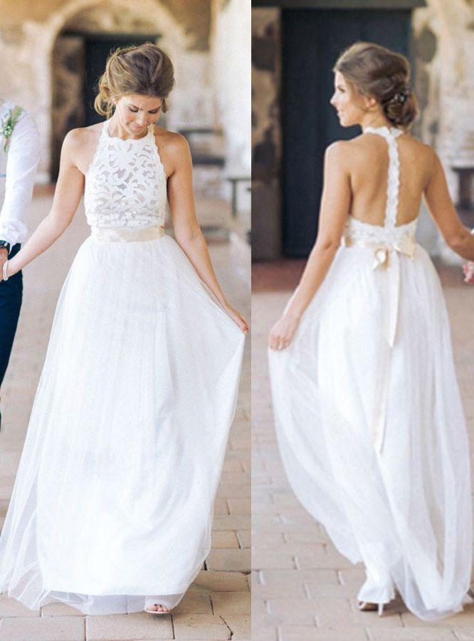 Wedding DressesSimple Jewel Sleeveless Chiffon Lace Top DressLace Tulle Beach Dress With Belt