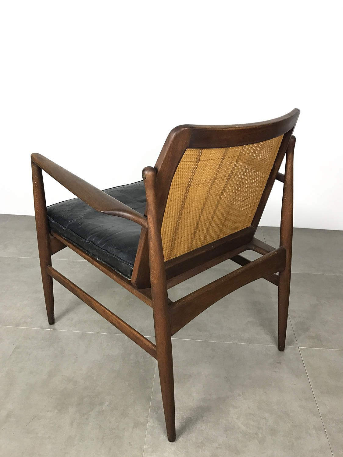Selig Chair Vintage Ib Kofod Larsen For Selig Cane Back Leather Lounge Chair