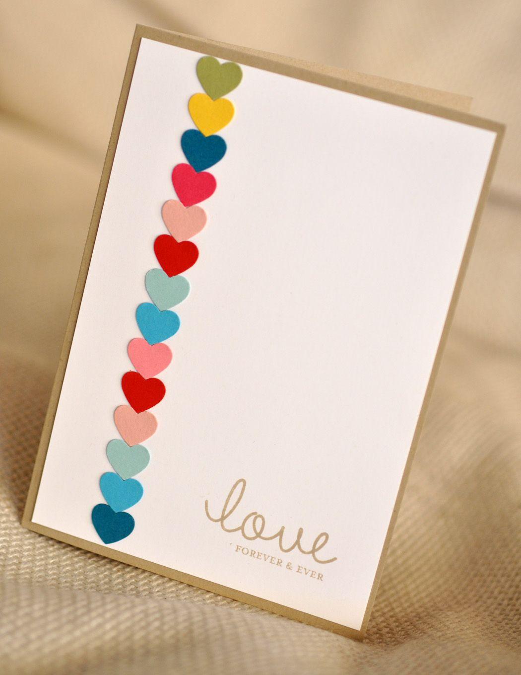 Hochzeit Karte Selber Basteln.Bunte Herzen Vday Cards Karte Hochzeit Karten Und