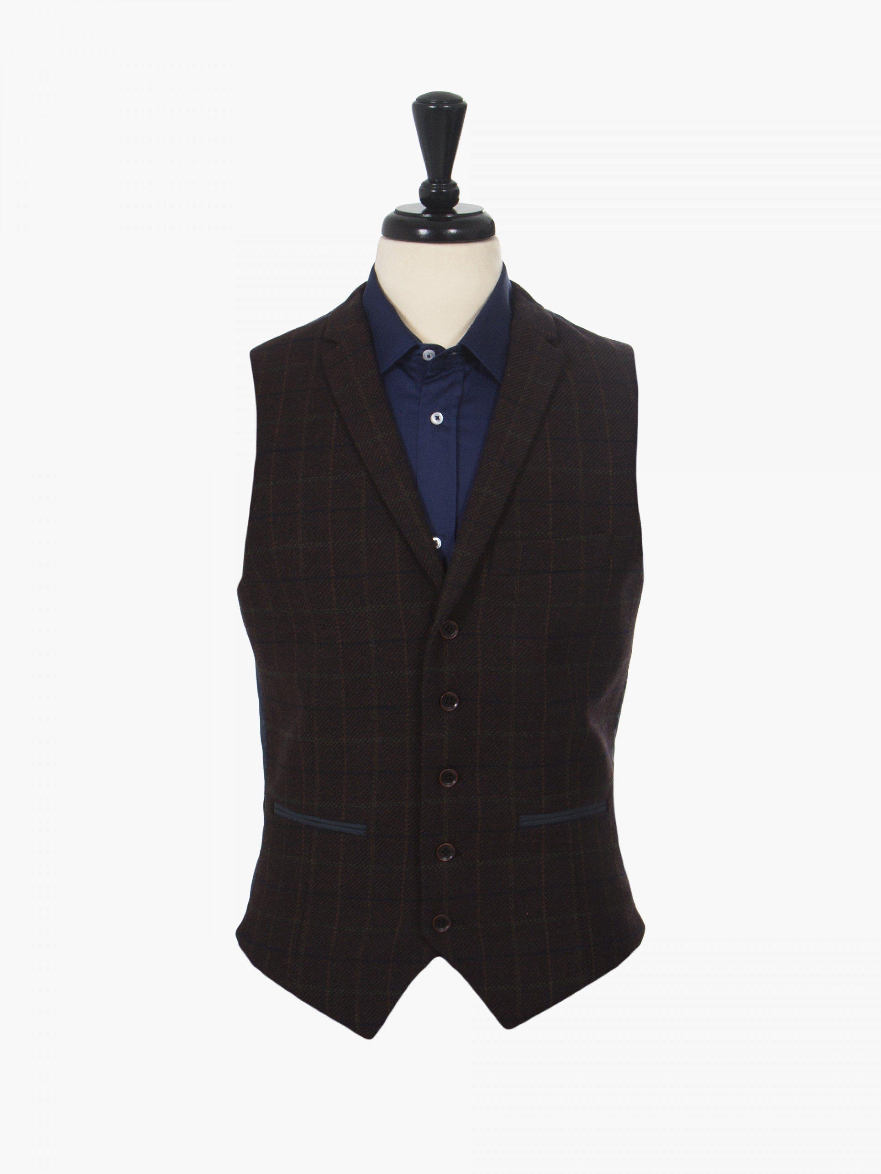 Harry Brown Burgundy Check Tweed Tailored Waistcoat