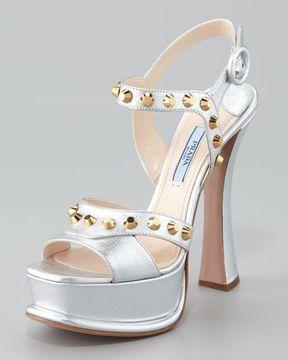 44ebaefc73263 ShopStyle.com: Prada Studded Metallic Ankle-Wrap Sandal, Silver $427.00
