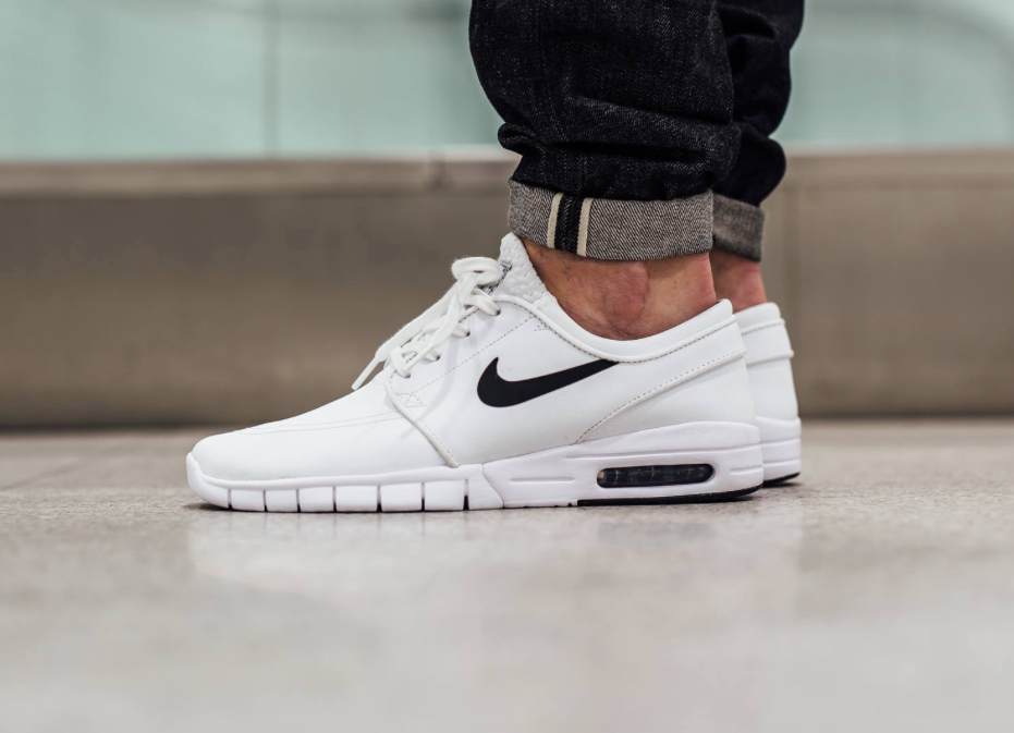 the best attitude 01e8b 63ee0 The Nike SB Stefan Janoski Max Leather edition is rendered in a timeless  White Black colorway this season. Find it now at Nike stores.