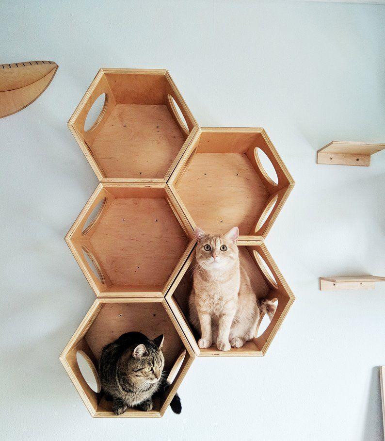 Wooden Modular Cat House Cat House Best Cat Lover Gift Pet Etsy Cat Wall Furniture Cat Wall Shelves Cat Furniture Diy