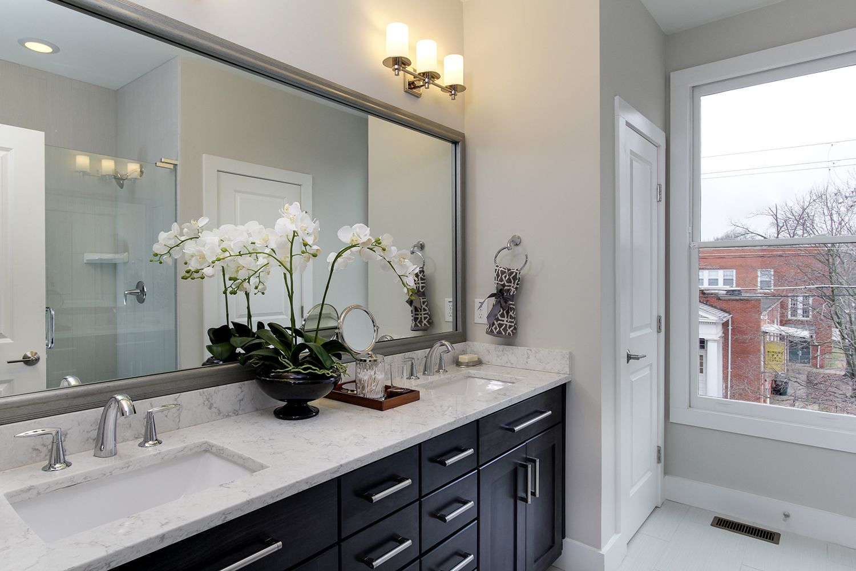 master bathroom darkcabinets pretty modelhome  new