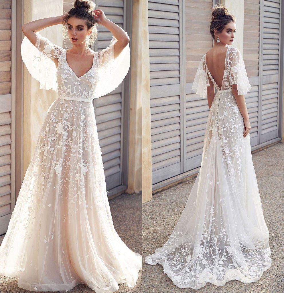 Ivory V Neck Beach Wedding Dresses With Lace Appliques Romantic Backless Bridal Dresses N2372 Short Sleeve Prom Dresses Camo Wedding Dresses Boho Wedding Dress Lace [ 1024 x 992 Pixel ]