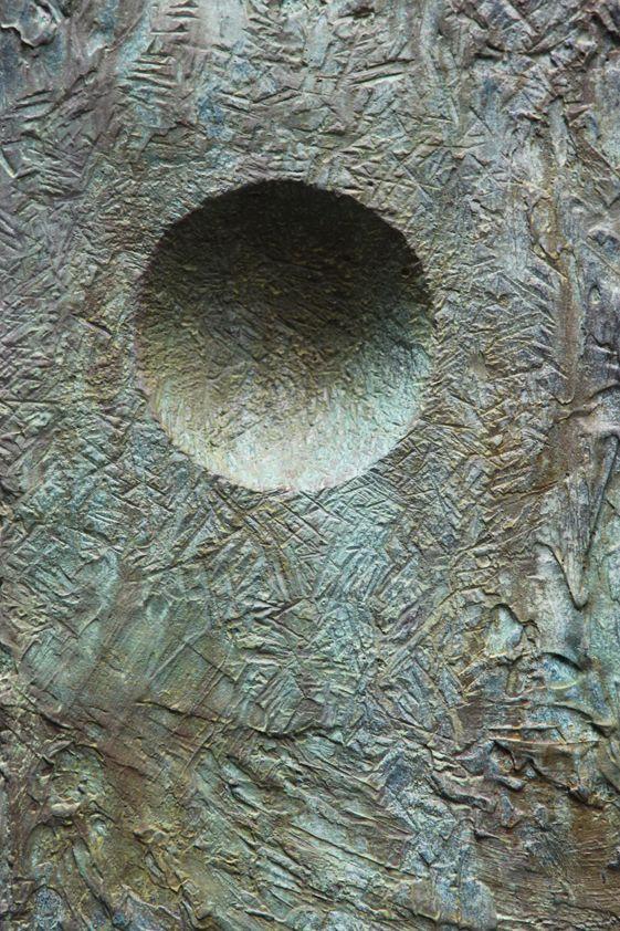 John Isaacs, What lies before what lies behind (Detail), 2012, patinated bronze, steel, car paint,