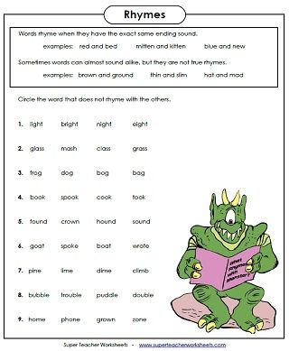 11++ Rhyming words with different spelling patterns worksheets Top