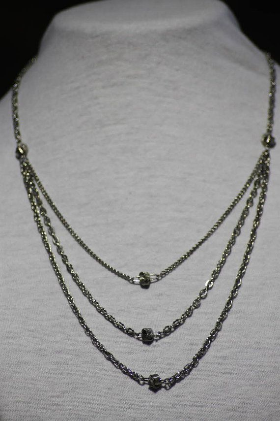 3 layer silver necklace by TBTOBEDESIGNED1 on Etsy, $10.00