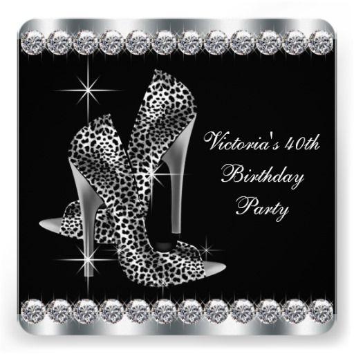 Womans Elegant Black Birthday Party Card – Personalized 40th Birthday Invitations