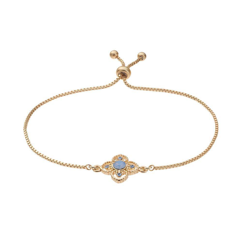 K gold plated crystal flower bolo bracelet crystal flower