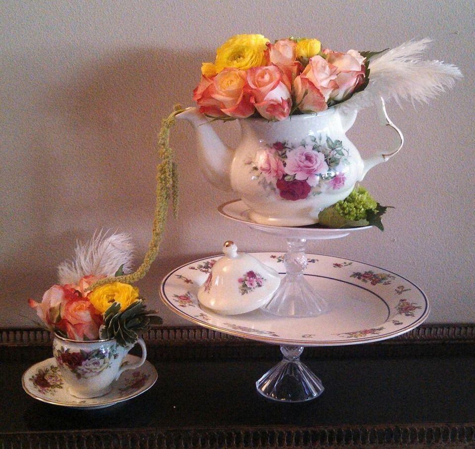 Diy vintage cake stands and teapot floral arrangement