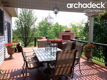 Stunning Deck with Pergola and Fireplace by Naperville area deck builder, Archadeck of Chicagoland