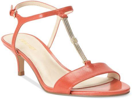 Women's Pink Yeelied T-Strap Kitten Heel Sandals | Kitten heel ...