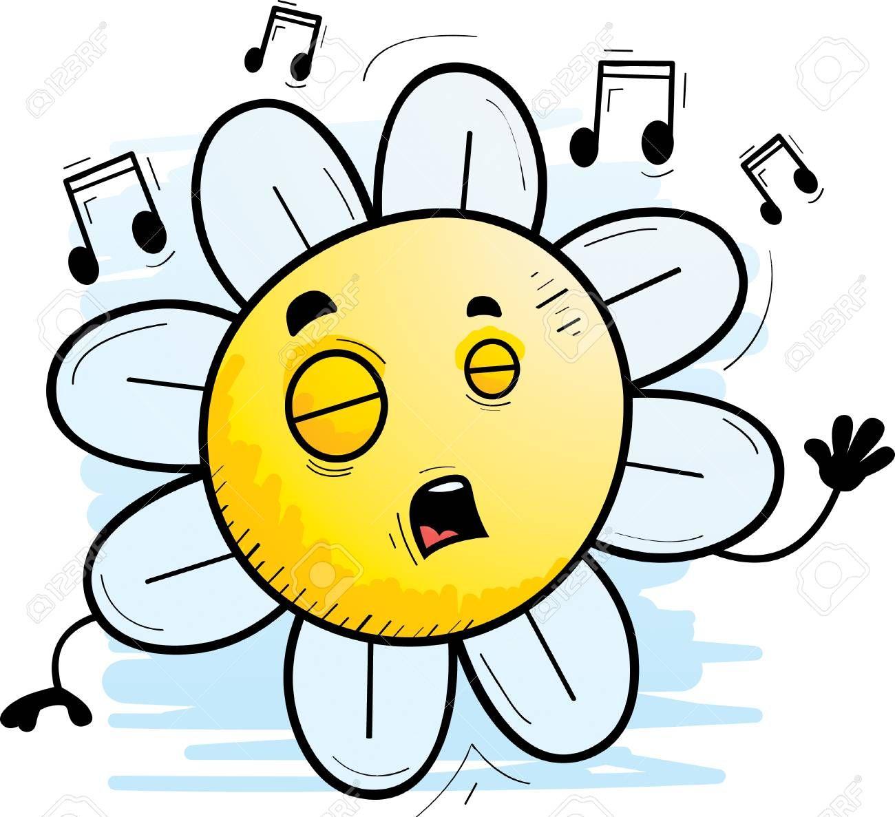A cartoon illustration of a flower singing. Illustration