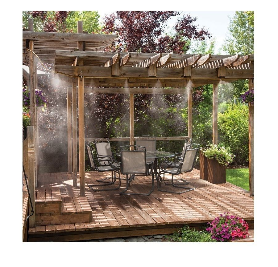 Misting System Patio Deck Porch Outdoor Cooling Mister Kit Air Mist Water Tubing 718455300605 Ebay Pergola Outdoor Pergola Pergola Plans