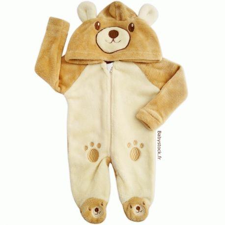 cbfea0b21265c Sur-pyjama à capuche en fourrure peluche beige Ourson > Babystock ...