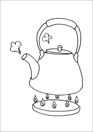 Teapot On Stove Coloring Pages Tea Pots Printable Coloring Pages