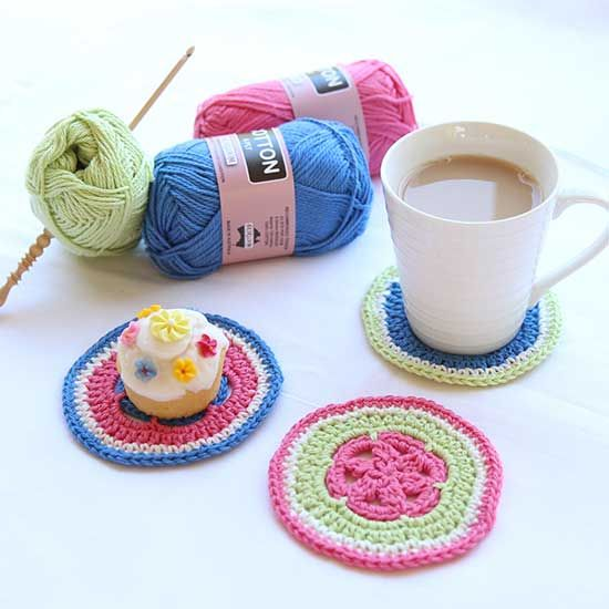 Easy Crochet Coaster Pattern Crochet Pinterest Crochet