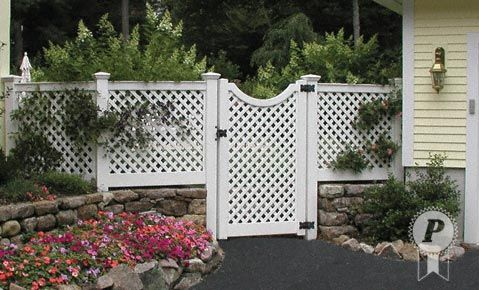 Vinyl Fence Idea Stone Wall On Bottom With White Lattice