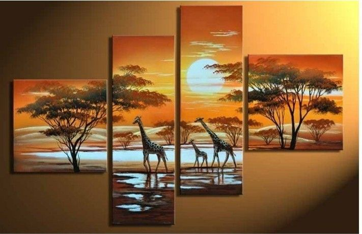 Hand-Painted Wall Art The Giraffe Sun Home Decoration Modern