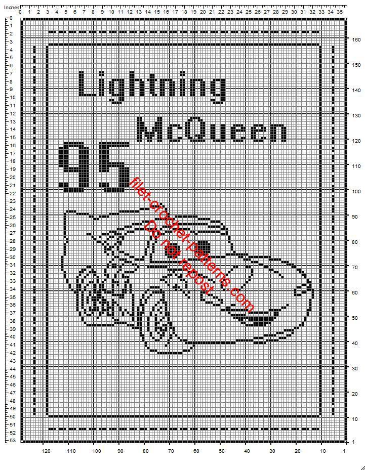 Disney Cars Lightning McQueen crochet filet baby blanket free ...