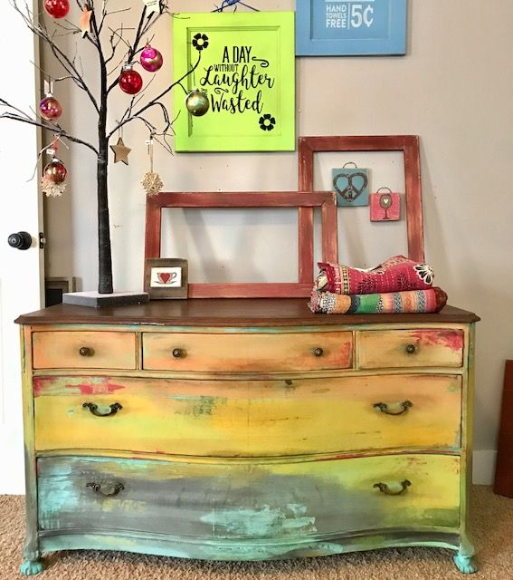 Vintage painted dresser sold id muebles reciclados for Muebles reciclados vintage