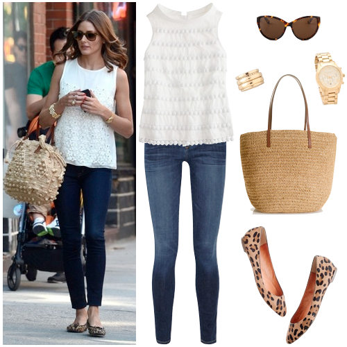 White lace top, skinnies and leopard flats