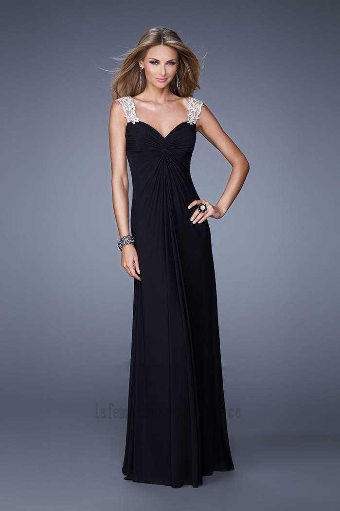 Black Long Bejeweled Straps Prom Dresses By La Femme 21104