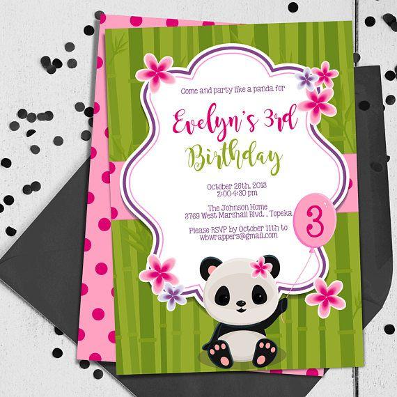 panda party invitation any age girl or