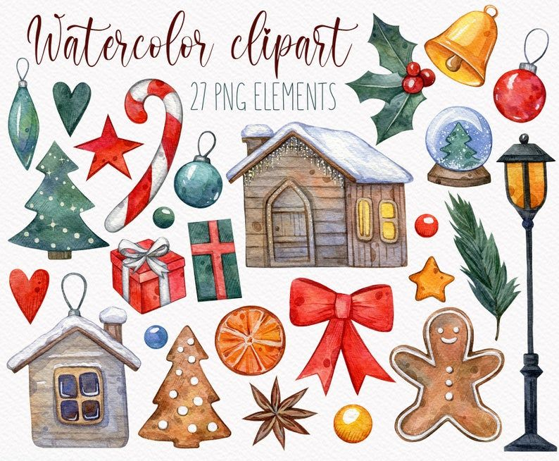 Christmas Artwork Red Christmas Cliparts Winter Clip Art Xmas Illustration Christmas Fashion Hand Drawn Clipart Watercolor Clipart
