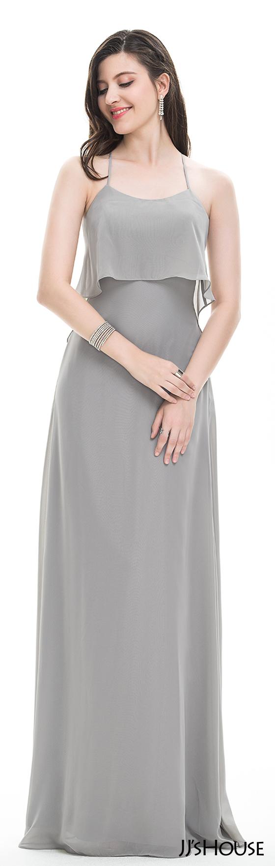 Alineprincess scoop neck floorlength chiffon prom dresses