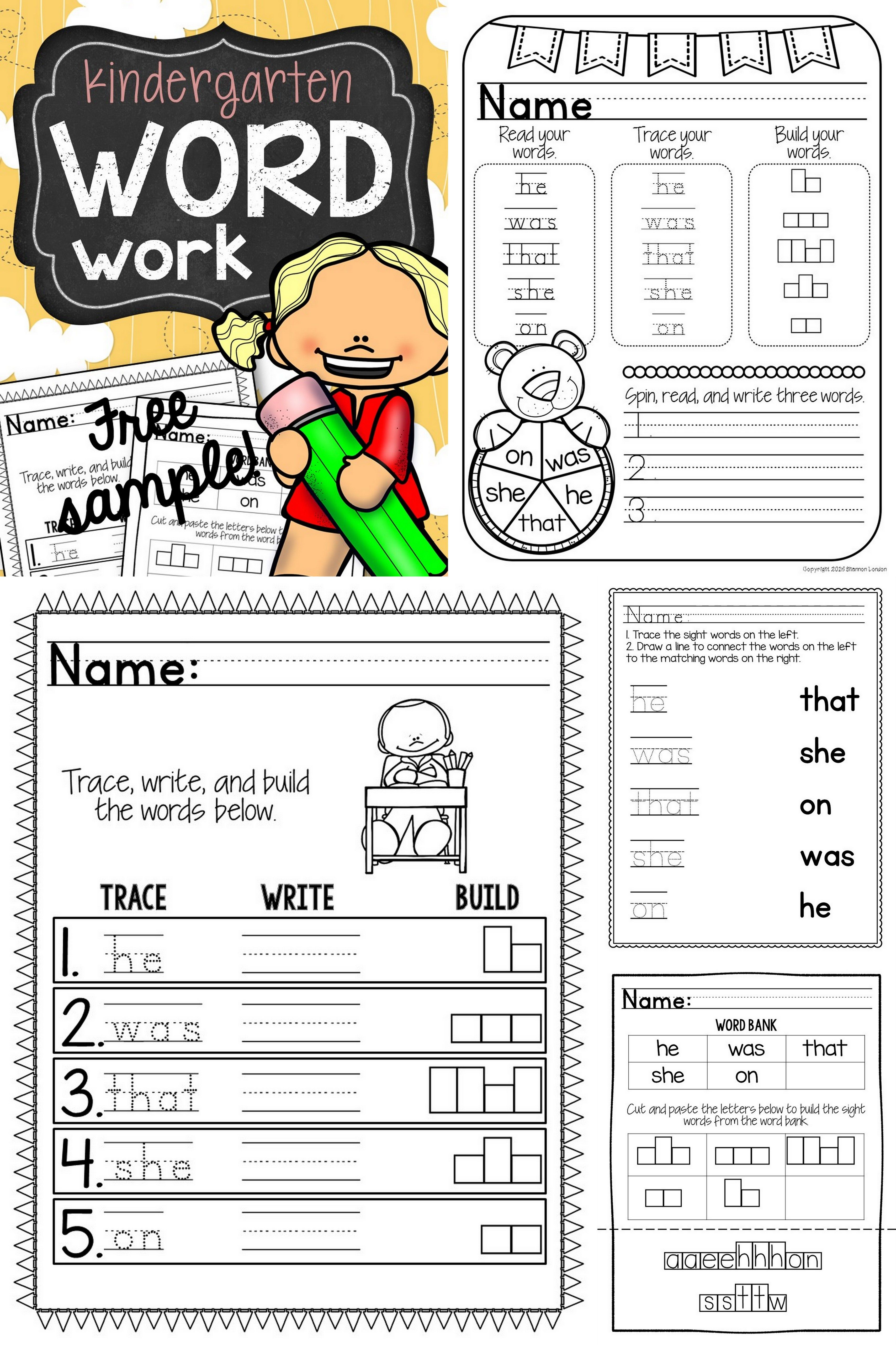 Free Kindergarten Word Work