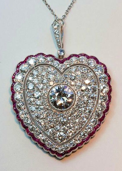 Diamond and ruby heart pendant circa 1910 diamonds pinterest diamond and ruby heart pendant circa 1910 aloadofball Image collections