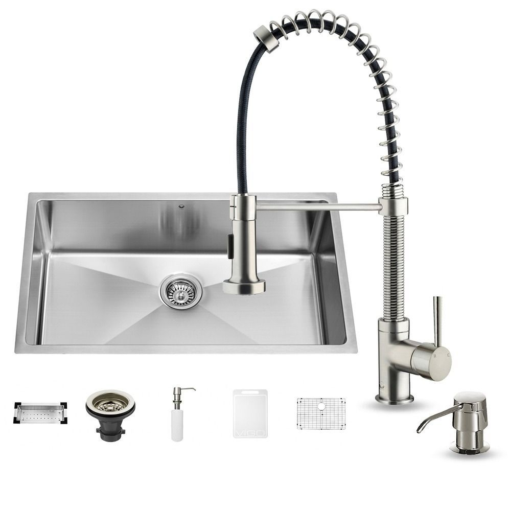 "Vigo All-In-One 32"" Mercer Stainless Steel Undermount Kitchen Sink ..."