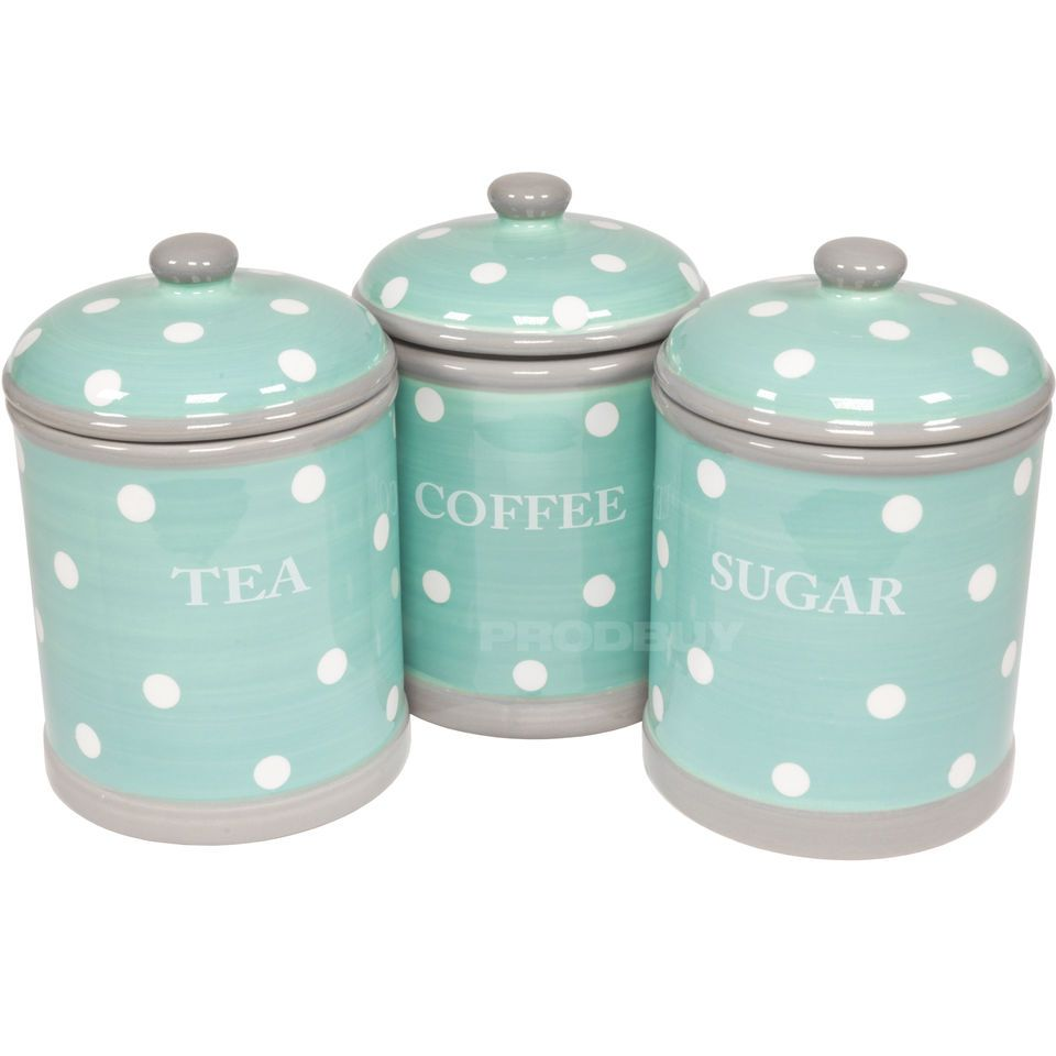 Ceramic Turquoise (Aqua) Polka Dot Tea Coffee Sugar Storage ...