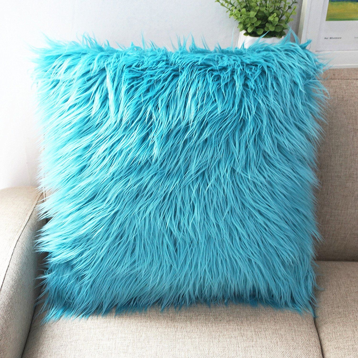 Amazon.com: Howarmer Deluxe Home Decorative Super Soft Plush Mongolian Faux  Fur Throw Pillow Cover 20X20 Inch, Aqua Blue: Home U0026 Kitchen